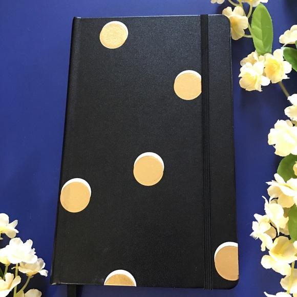 kate spade Other - Kate Spade Note Book Black Gold Polka Dot